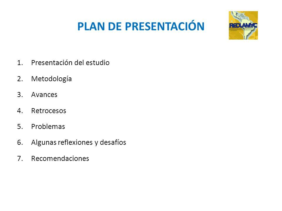 PLAN DE PRESENTACIÓN Presentación del estudio Metodología Avances