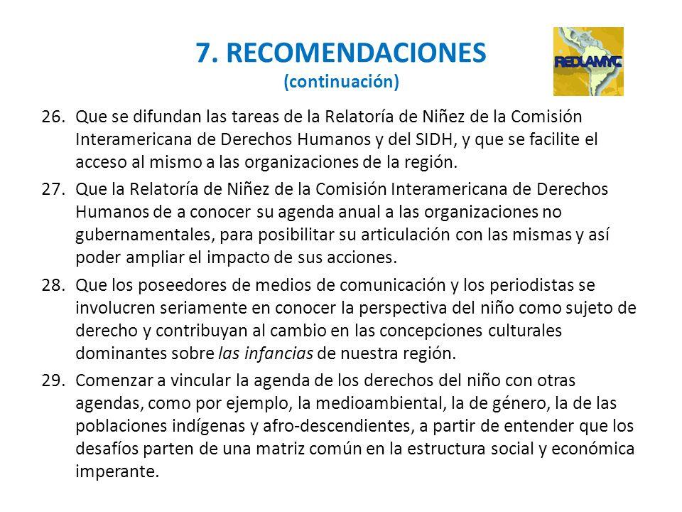 7. RECOMENDACIONES (continuación)
