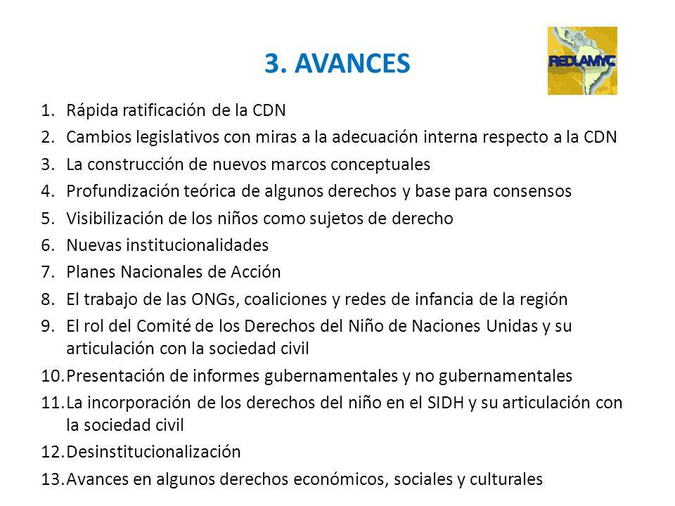 3. AVANCES Rápida ratificación de la CDN