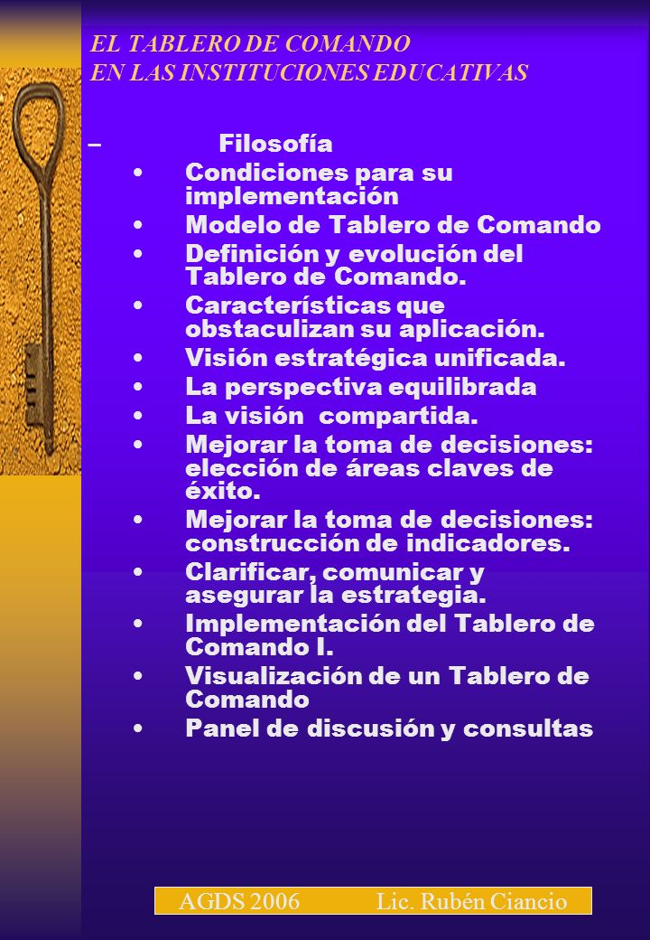 EL TABLERO DE COMANDO EN LAS INSTITUCIONES EDUCATIVAS