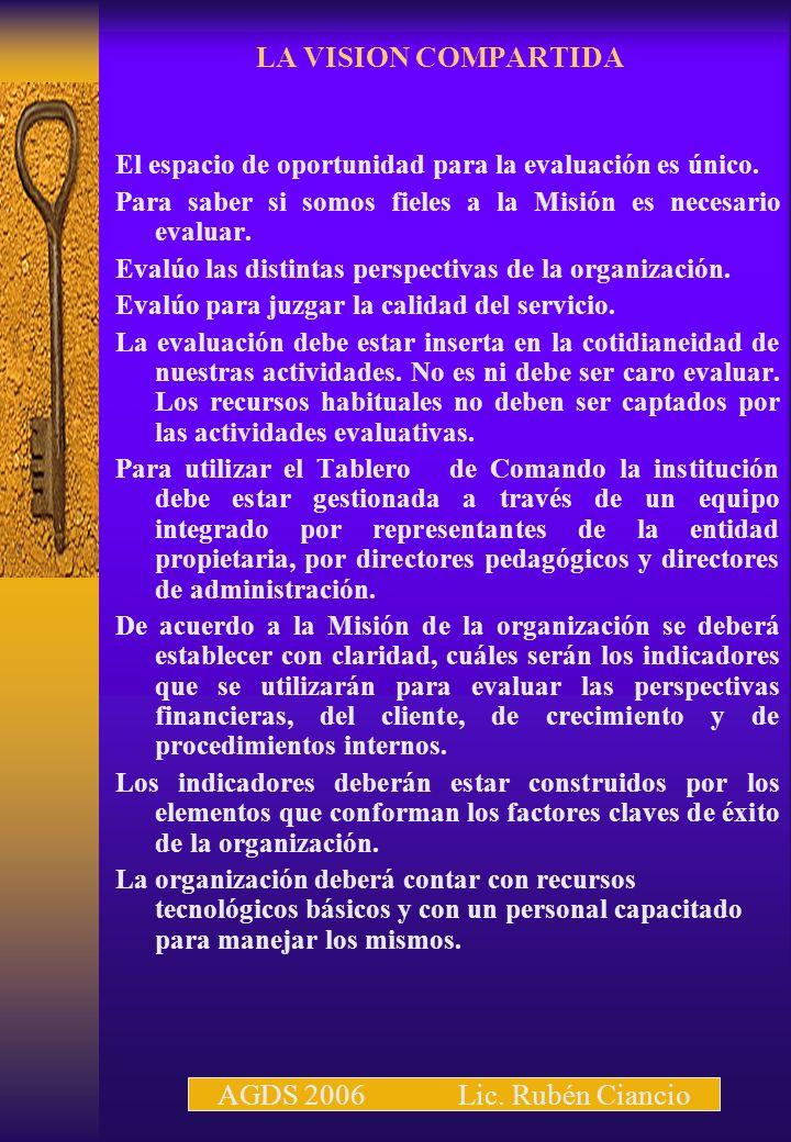 LA VISION COMPARTIDA AGDS 2006 Lic. Rubén Ciancio