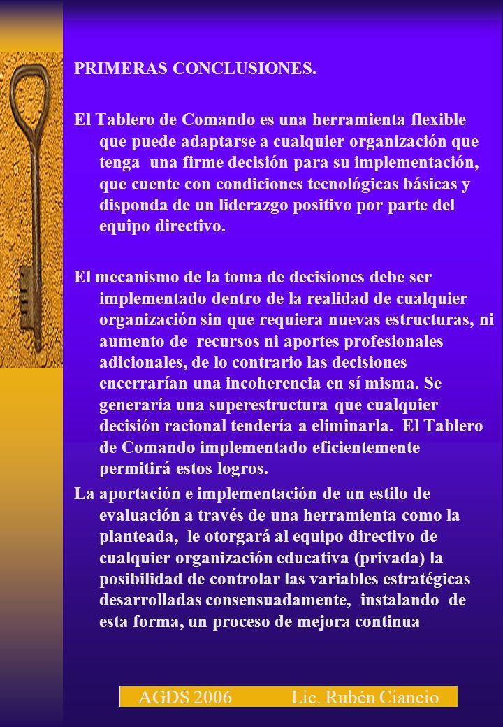 AGDS 2006 Lic. Rubén Ciancio PRIMERAS CONCLUSIONES.