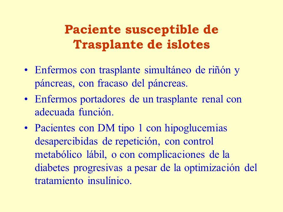 Paciente susceptible de Trasplante de islotes
