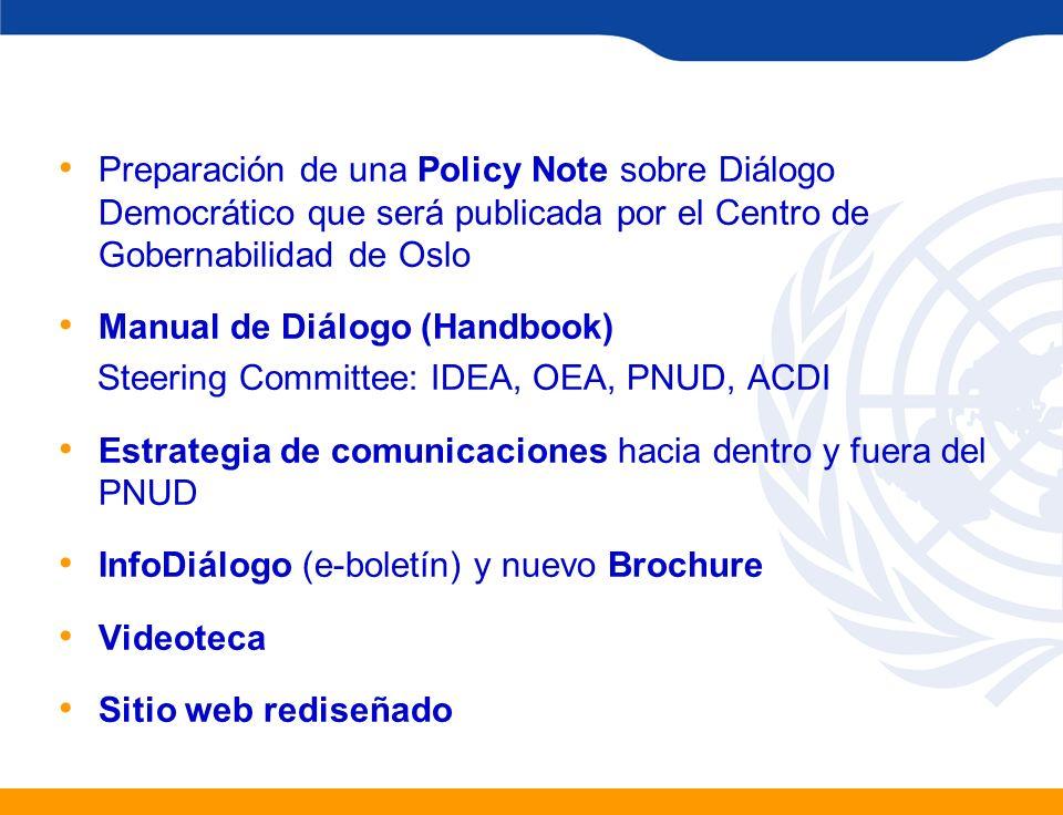 Preparación de una Policy Note sobre Diálogo Democrático que será publicada por el Centro de Gobernabilidad de Oslo