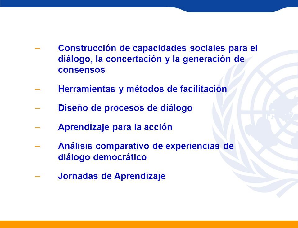 Construcción de capacidades sociales para el diálogo, la concertación y la generación de consensos