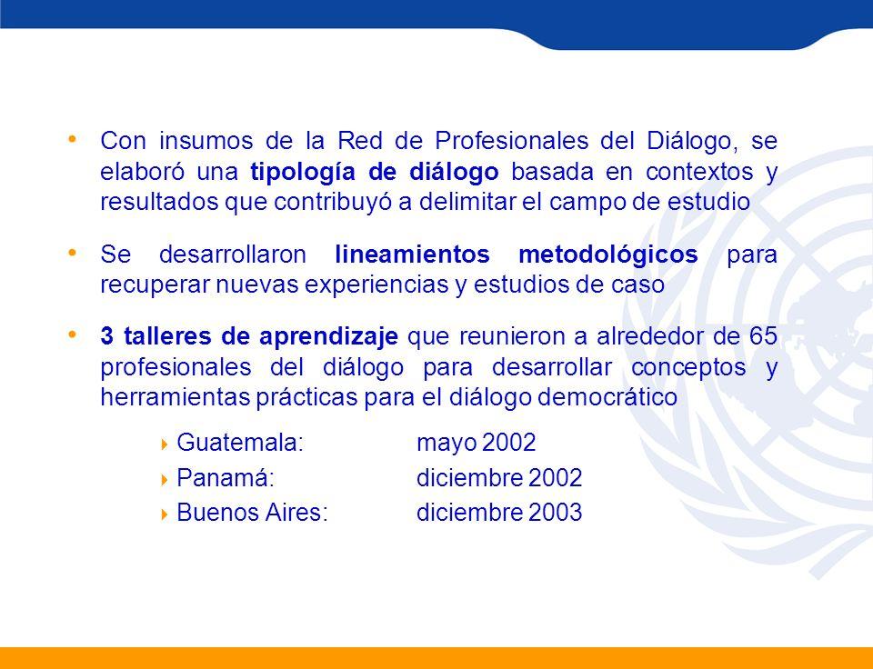 Con insumos de la Red de Profesionales del Diálogo, se elaboró una tipología de diálogo basada en contextos y resultados que contribuyó a delimitar el campo de estudio