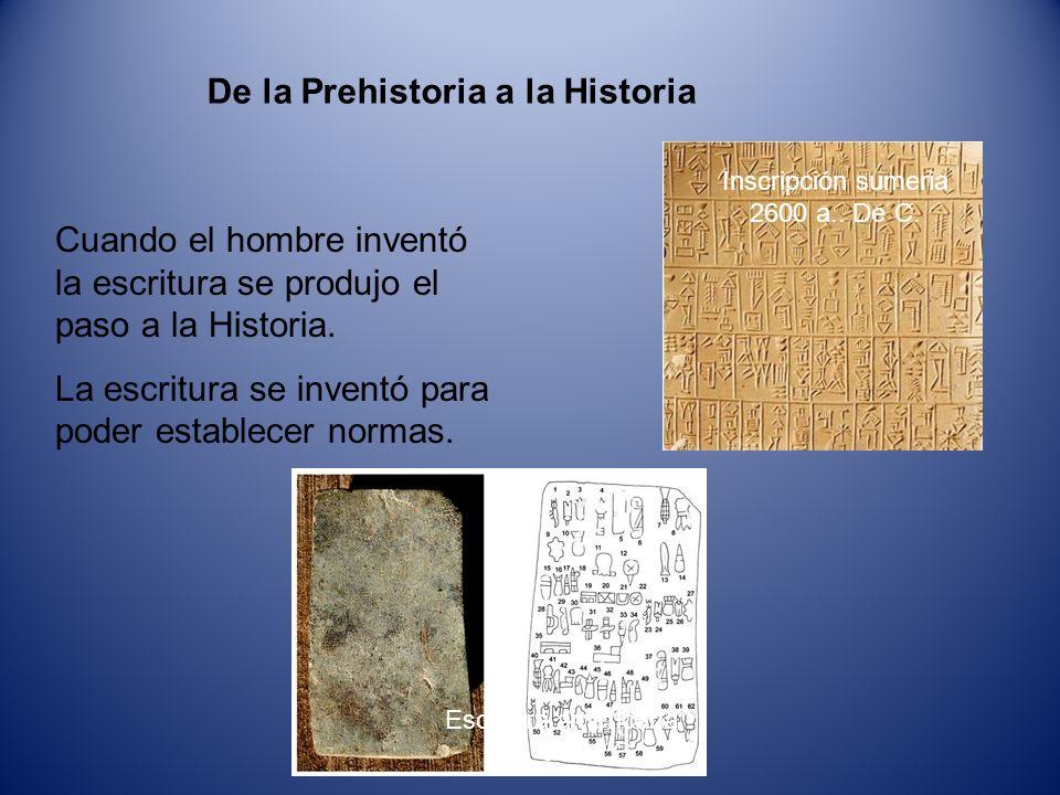 De la Prehistoria a la Historia