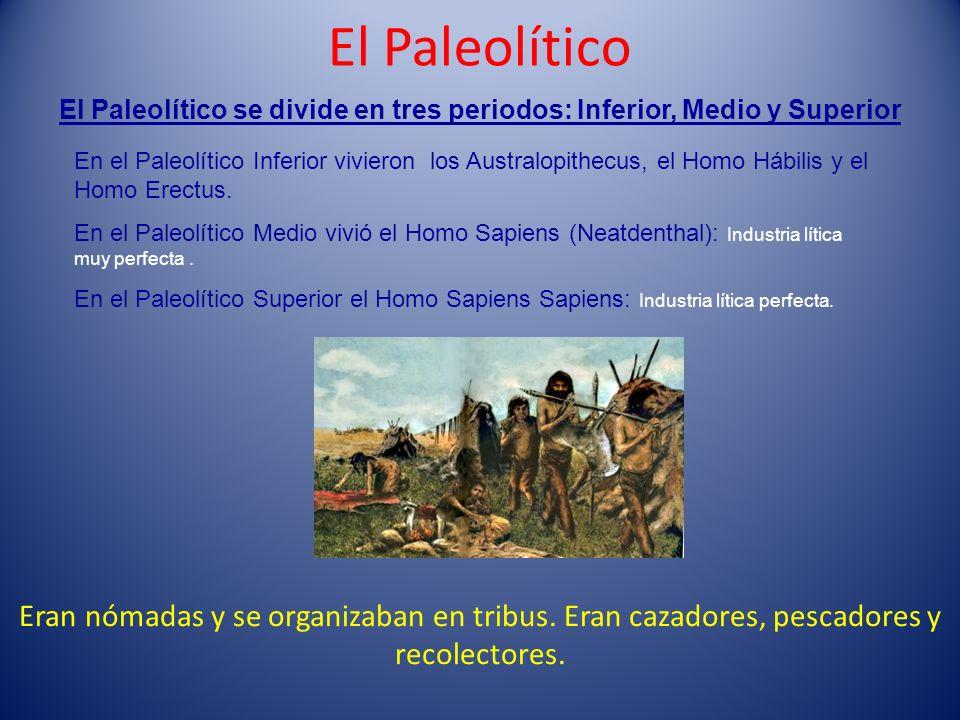 El PaleolíticoEl Paleolítico se divide en tres periodos: Inferior, Medio y Superior.