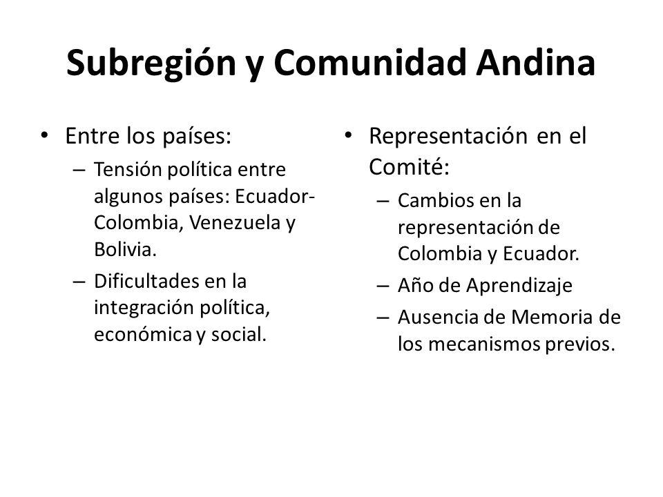 Subregión y Comunidad Andina
