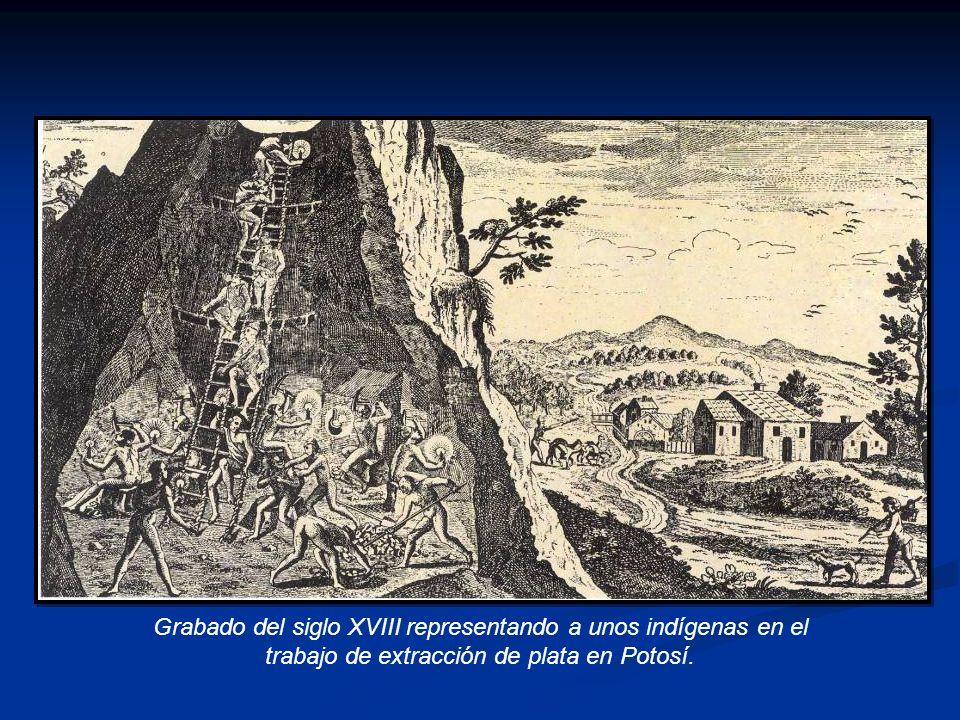 Grabado del siglo XVIII representando a unos indígenas en el trabajo de extracción de plata en Potosí.