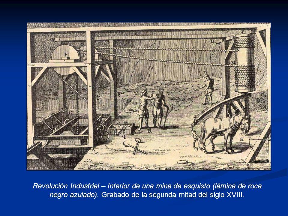 Revolución Industrial – Interior de una mina de esquisto (lámina de roca negro azulado).