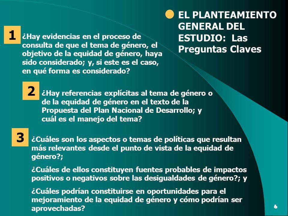 1 2 3 EL PLANTEAMIENTO GENERAL DEL ESTUDIO: Las Preguntas Claves