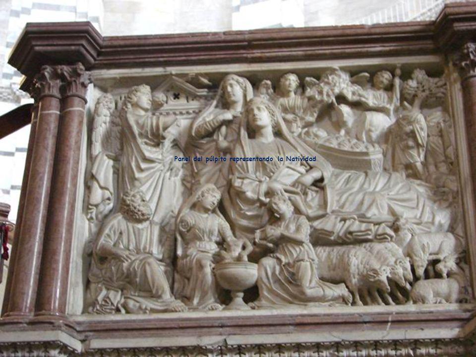 Panel del púlpito representando la Natividad