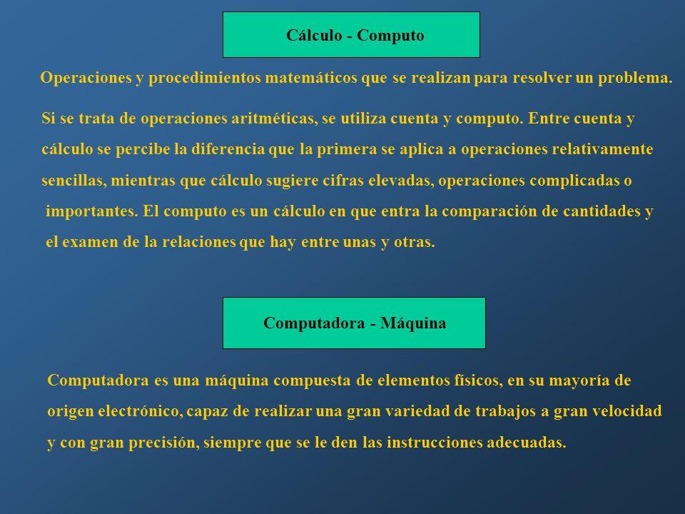 Cálculo - Computo Operaciones y procedimientos matemáticos que se realizan para resolver un problema.