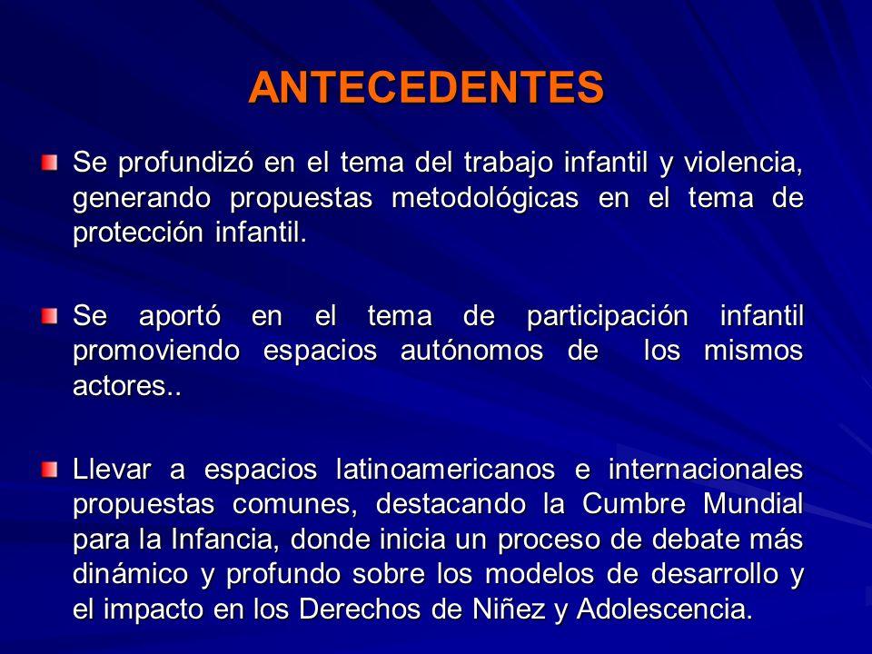 ANTECEDENTESSe profundizó en el tema del trabajo infantil y violencia, generando propuestas metodológicas en el tema de protección infantil.
