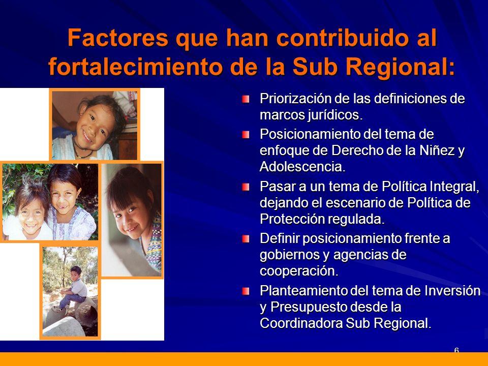 Factores que han contribuido al fortalecimiento de la Sub Regional: