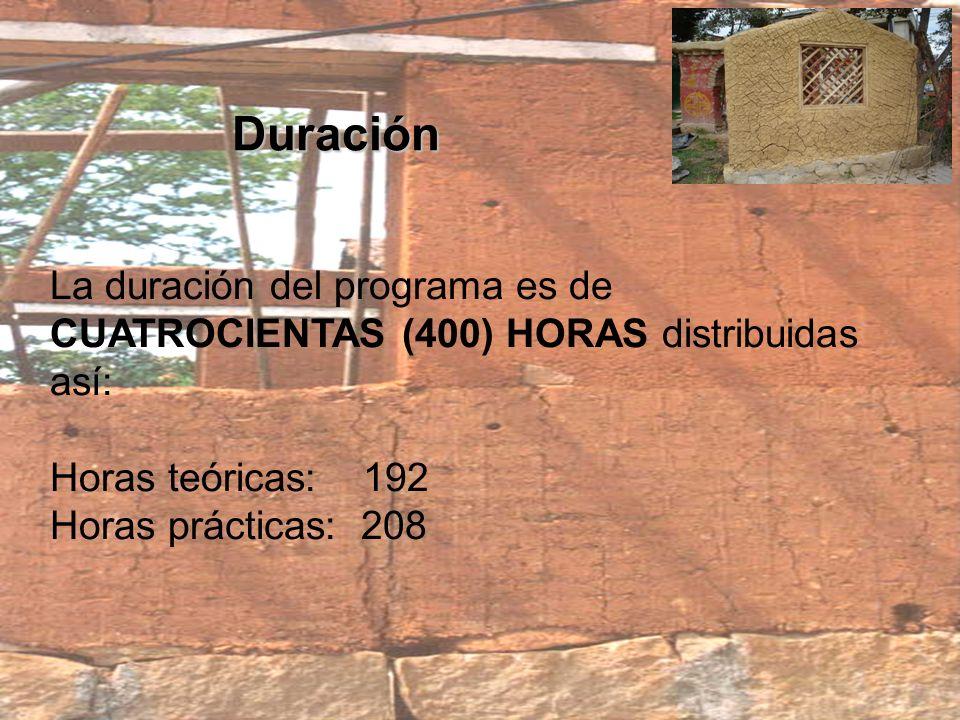 Duración La duración del programa es de CUATROCIENTAS (400) HORAS distribuidas así: Horas teóricas: 192 Horas prácticas: 208.