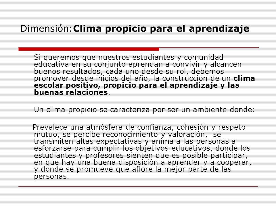 Dimensión:Clima propicio para el aprendizaje