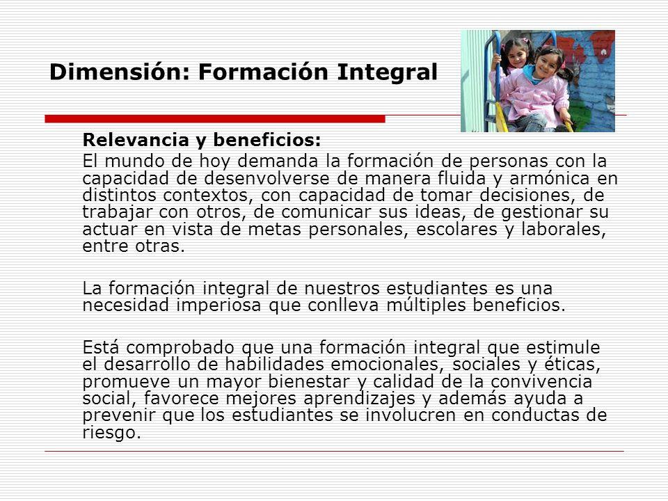 Dimensión: Formación Integral