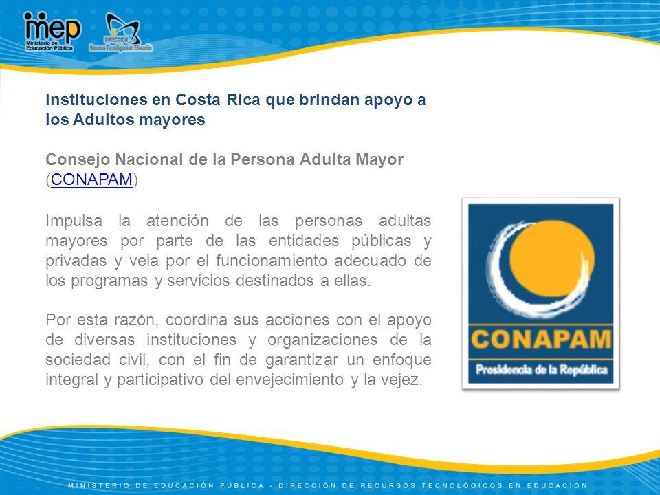 Instituciones en Costa Rica que brindan apoyo a los Adultos mayores