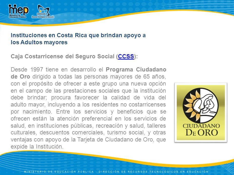 Instituciones en Costa Rica que brindan apoyo a
