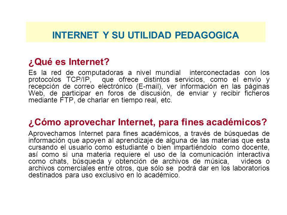 INTERNET Y SU UTILIDAD PEDAGOGICA