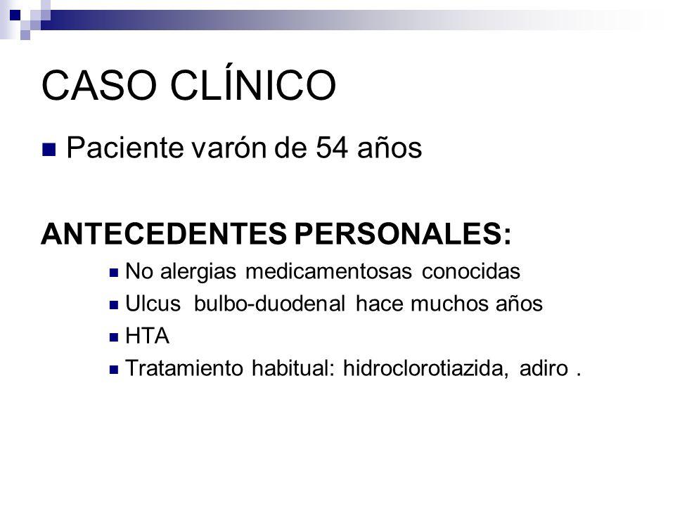 CASO CLÍNICO Paciente varón de 54 años ANTECEDENTES PERSONALES: