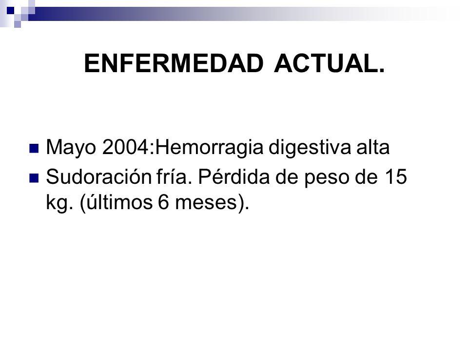 ENFERMEDAD ACTUAL. Mayo 2004:Hemorragia digestiva alta