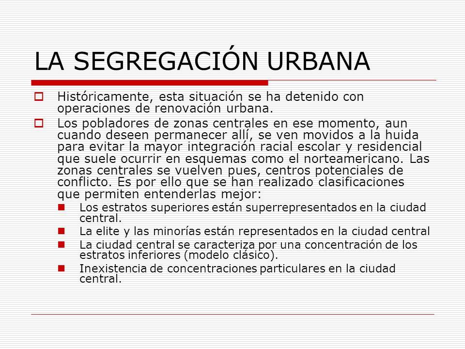 LA SEGREGACIÓN URBANA Históricamente, esta situación se ha detenido con operaciones de renovación urbana.