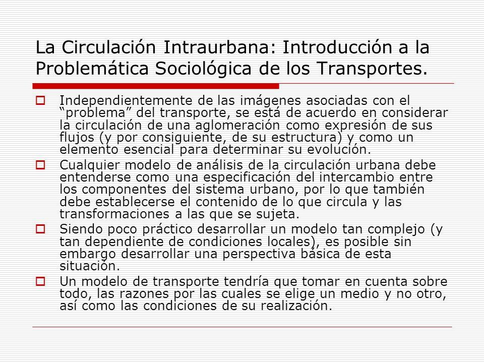 La Circulación Intraurbana: Introducción a la Problemática Sociológica de los Transportes.