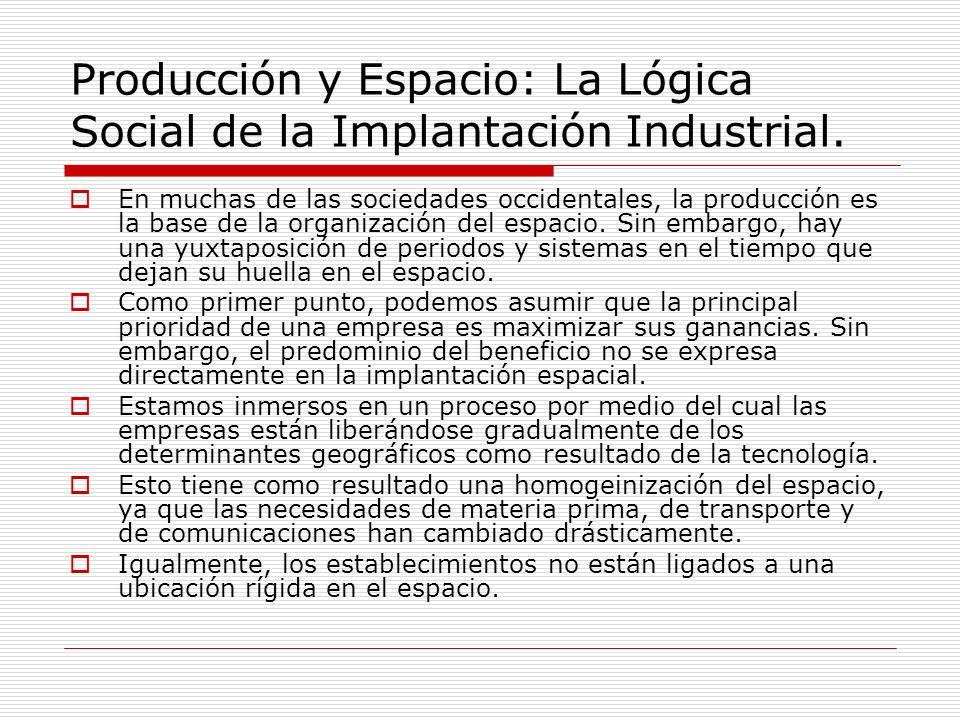 Producción y Espacio: La Lógica Social de la Implantación Industrial.