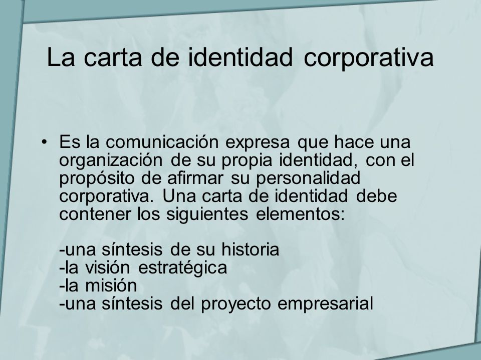 La carta de identidad corporativa
