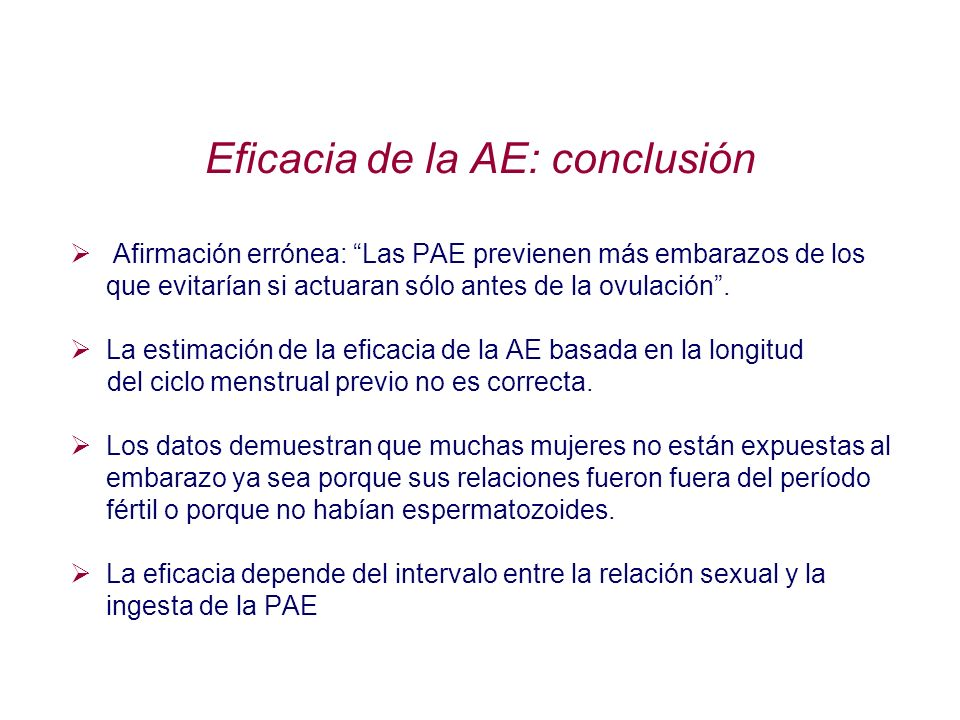 Eficacia de la AE: conclusión