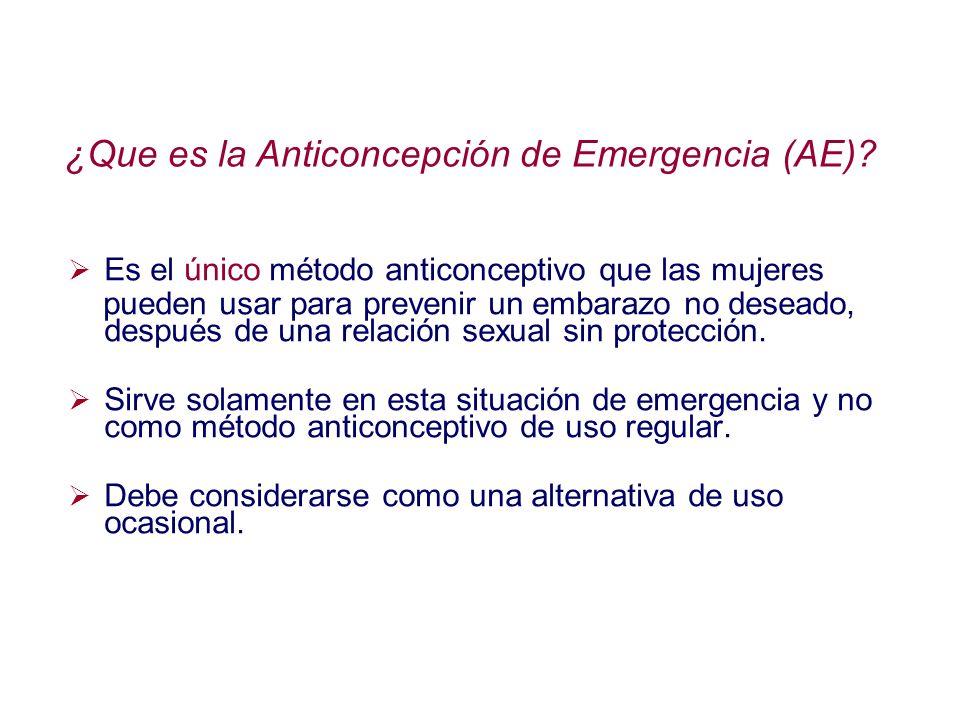 ¿Que es la Anticoncepción de Emergencia (AE)