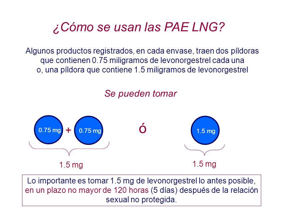ó ¿Cómo se usan las PAE LNG + Se pueden tomar