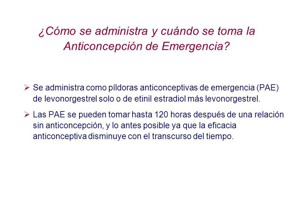 ¿Cómo se administra y cuándo se toma la Anticoncepción de Emergencia