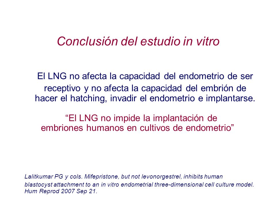 Conclusión del estudio in vitro