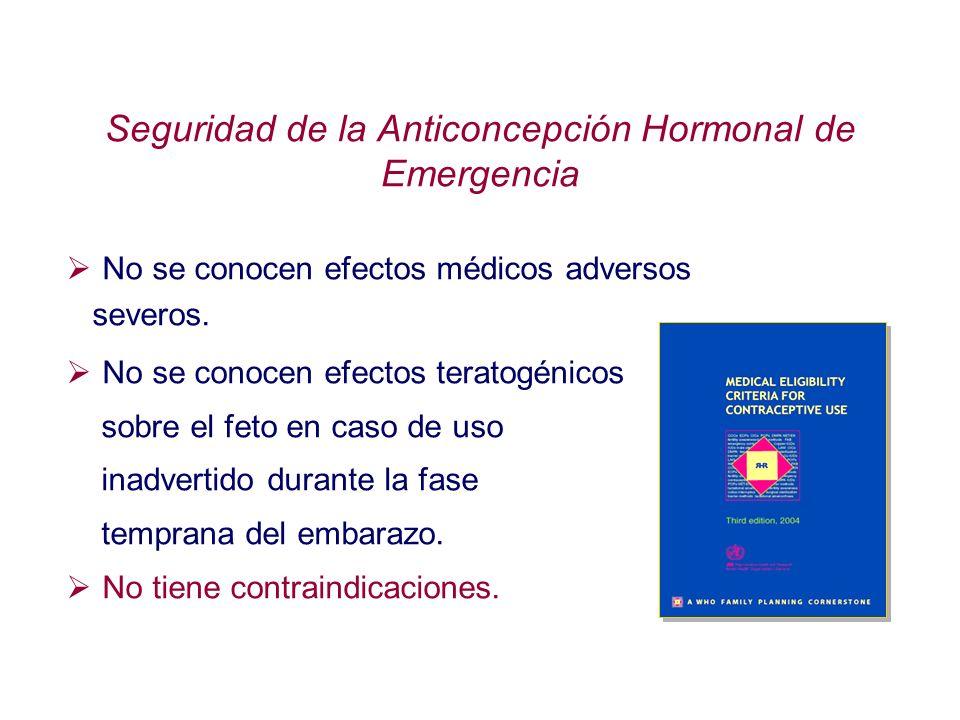 Seguridad de la Anticoncepción Hormonal de Emergencia