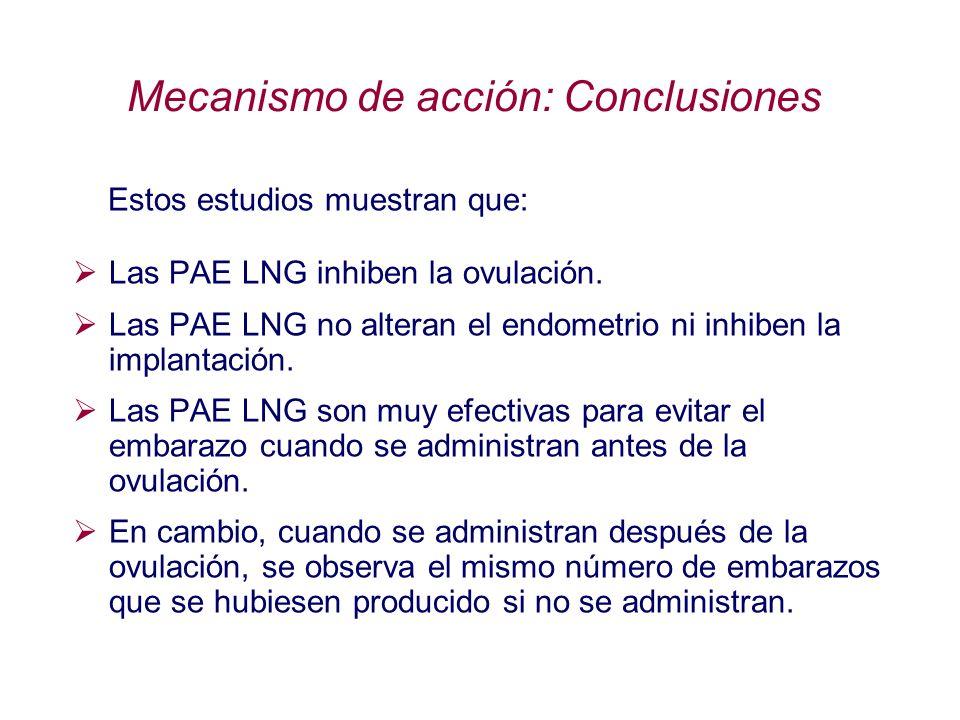 Mecanismo de acción: Conclusiones