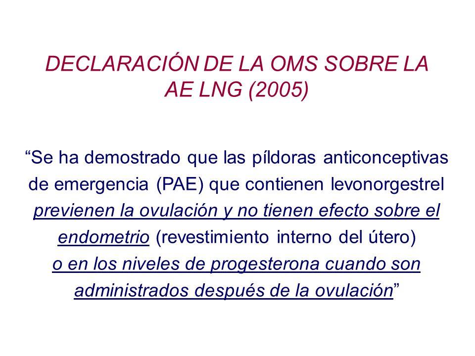 DECLARACIÓN DE LA OMS SOBRE LA AE LNG (2005)