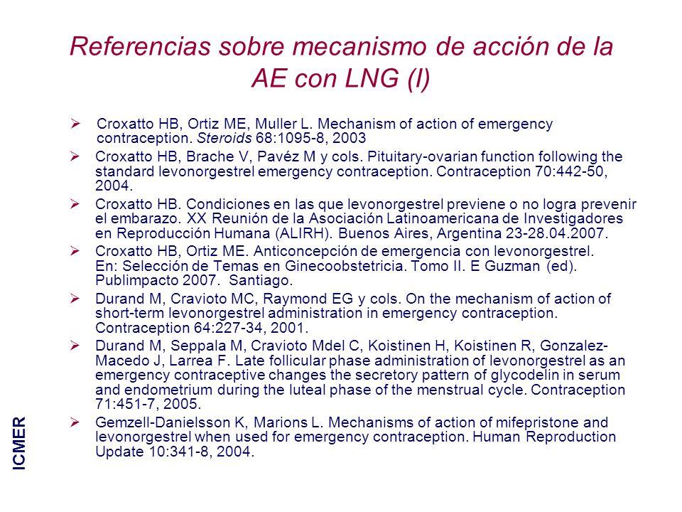 Referencias sobre mecanismo de acción de la AE con LNG (I)