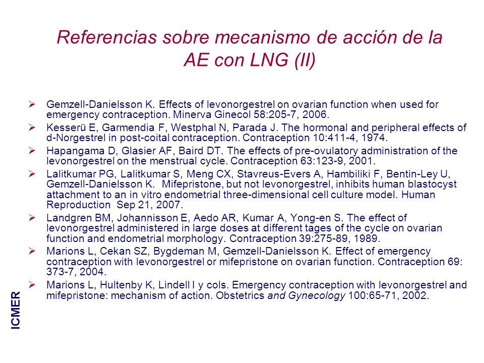 Referencias sobre mecanismo de acción de la AE con LNG (II)