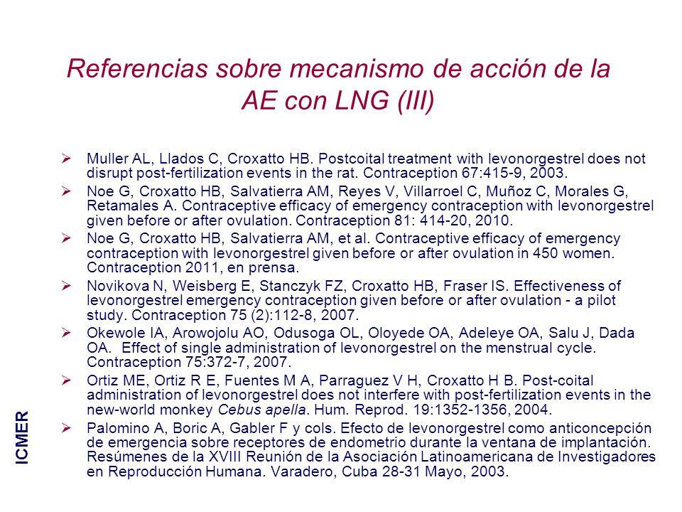 Referencias sobre mecanismo de acción de la AE con LNG (III)