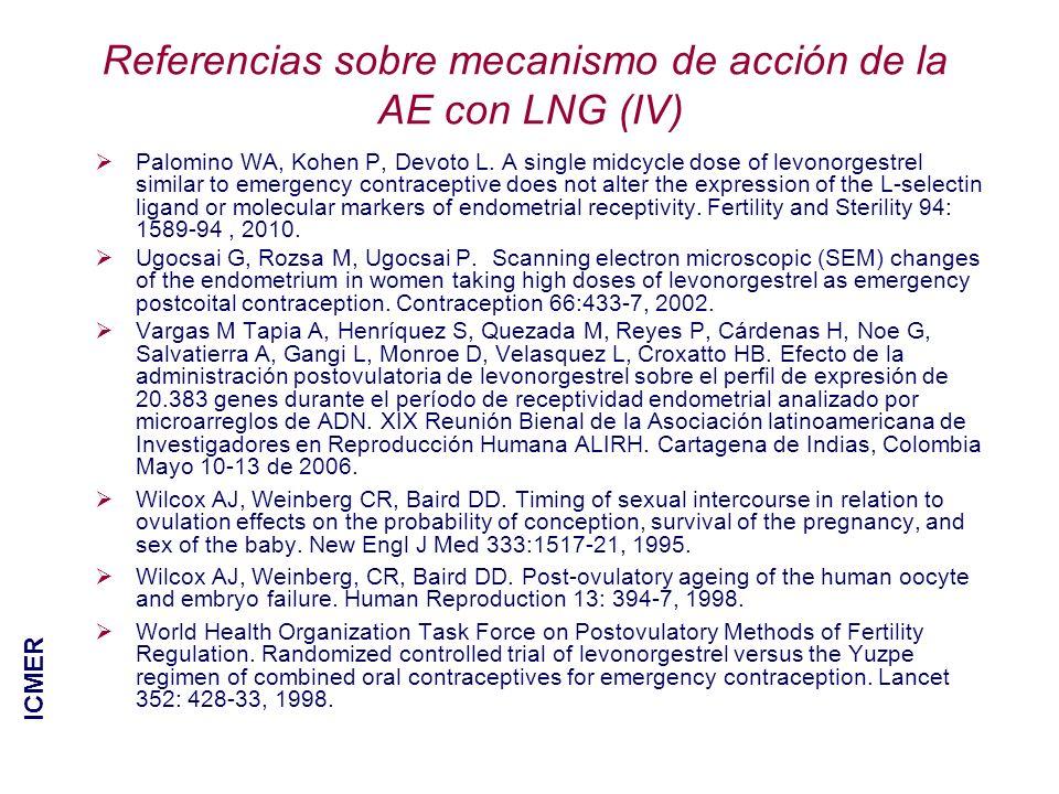 Referencias sobre mecanismo de acción de la AE con LNG (IV)