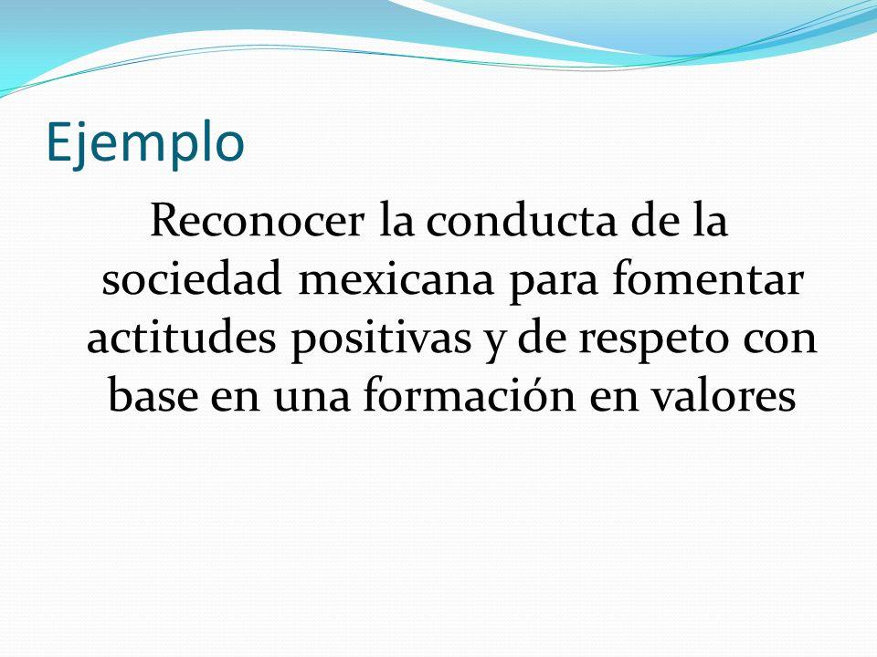 Ejemplo Reconocer la conducta de la sociedad mexicana para fomentar actitudes positivas y de respeto con base en una formación en valores.