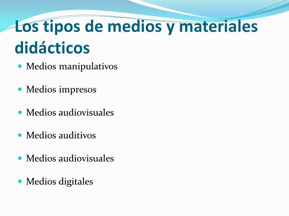 Los tipos de medios y materiales didácticos