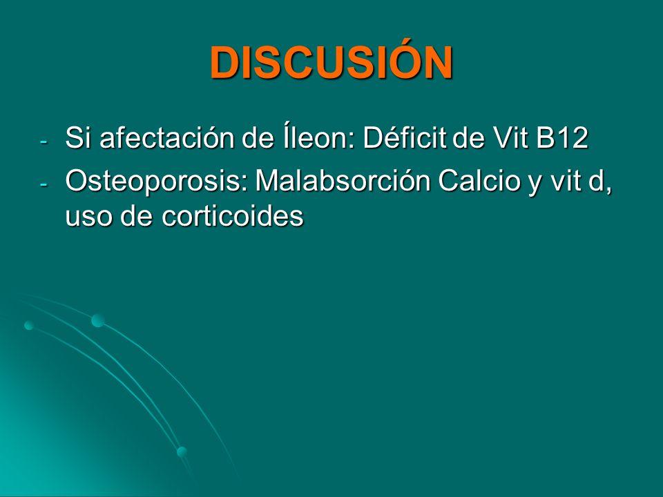 DISCUSIÓN Si afectación de Íleon: Déficit de Vit B12