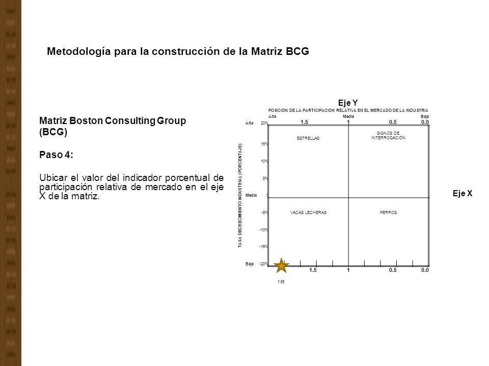 Metodología para la construcción de la Matriz BCG