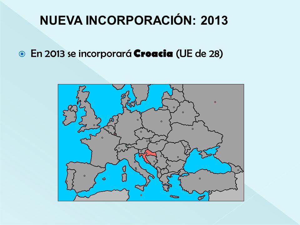 NUEVA INCORPORACIÓN: 2013 En 2013 se incorporará Croacia (UE de 28)