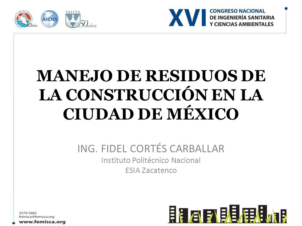 MANEJO DE RESIDUOS DE LA CONSTRUCCIÓN EN LA CIUDAD DE MÉXICO